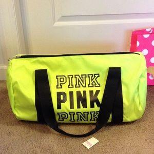 d21c7444534 PINK Victoria s Secret Bags - VS PINK bundle- neon lemon duffle bag   lace  thong