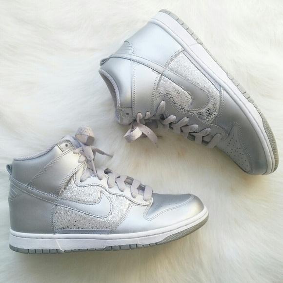 Nike Silver Metallic Sparkle Sneakers. M 566730ee6e3ec2e4de0249f7 d2d8a9c2b6