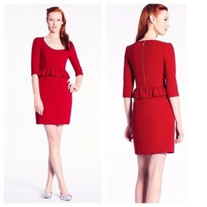 NWT Kate Spade Red Mary Peplum Dress Sz 6