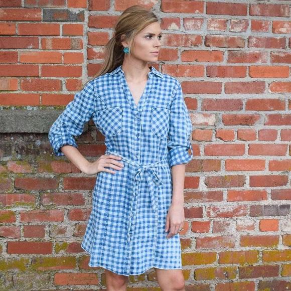 Anthropologie - NWT Anthropologie Denim Blue Checkered Dress M ...