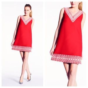 Kate Spade Red Laureen Shift Linen Dress Sz 2