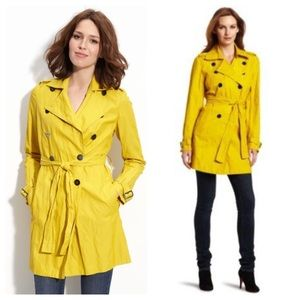 Kenneth Cole Double Breasted Trench Saffron XS