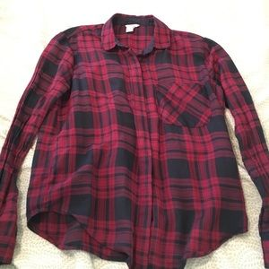 Navy blue and red plaid button down.