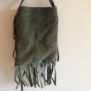 Bags - Olive Suede Fringe Bag