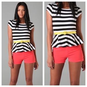 Alice + Olivia Ella Striped Peplum Shirt Sz M