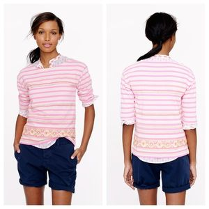 J. Crew Pink & Orange STITCHWORK STRIPE TOP Sz S