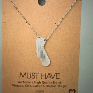 Dainty Silver California State Necklace