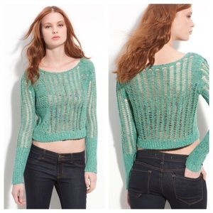 Free People Green Goccia Open Knit Crop Sweater M