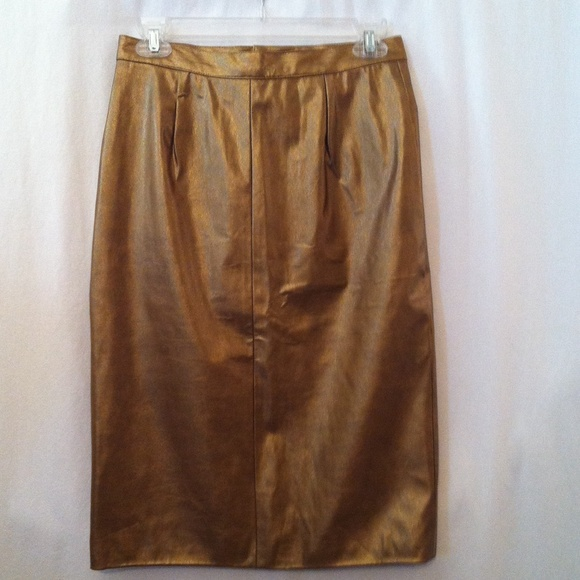 colebrook co metallic gold faux leather skirt from