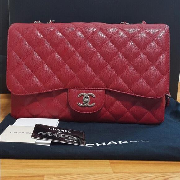 1711d5155060ea CHANEL Bags | Soldauthentic Jumbo Flap Caviar True Red | Poshmark
