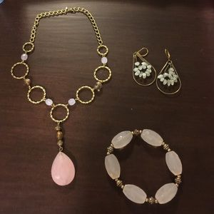 Avon pink and gold necklace bracelet earrings set