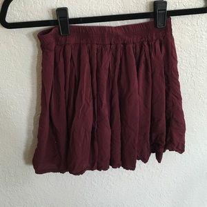 maroon brandy flowy skirt
