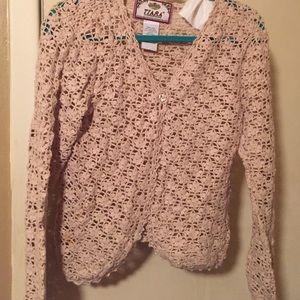 Tiara Sweaters - Oatmeal vintage crochet sweater