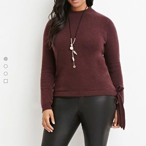 NWOT Burgundy Mock Neck Fuzzy Sweater