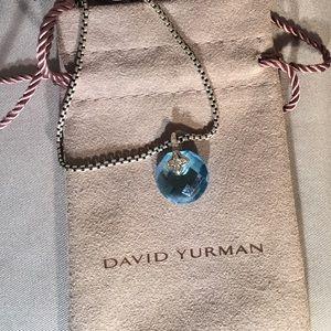 David Yurman Topaz and Diamond Pendant Necklace