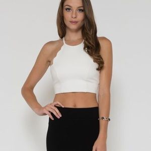 Scalloped White Crossback Crop Top