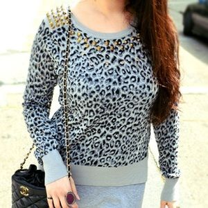 Sweaters - Studded leopard print sweater