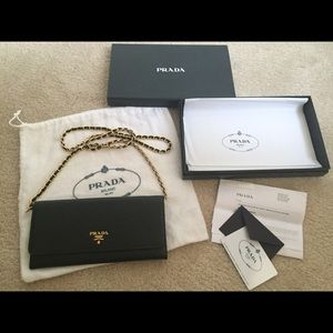 Prada Handbags - Authentic Prada WalletonChain Black Gold Hardware