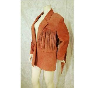 Springwest Suede Vintage Fringe Jacket/Blazer