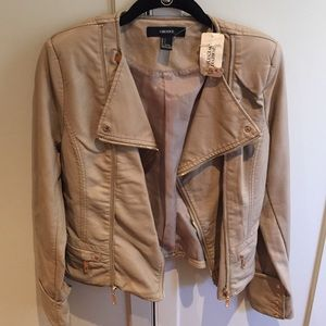 Forever 21 Jackets & Blazers - Moto jacket - beige faux leather jacket -small NWT