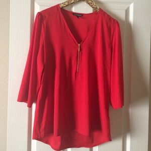 Express Tops - Red Express 3/4 sleeve blouse