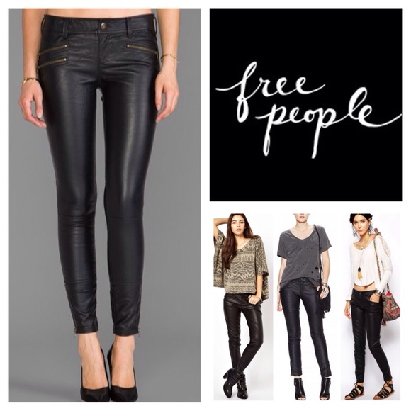 4410b4d84faf36 Free People Pants | Black Moto Faux Leather Jeans Nwt | Poshmark