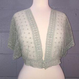 Boutique Mint Green Dolman Crochet Shrug, Size 2