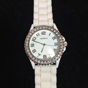 Geneva Jewelry - Geneva white jelly watch with rhinestones white