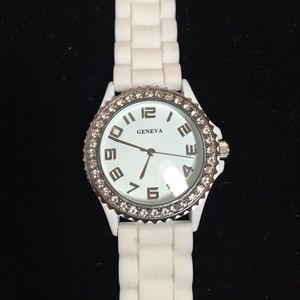 Geneva jelly watch with rhinestones white SALE.