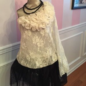 Cream colored lace top