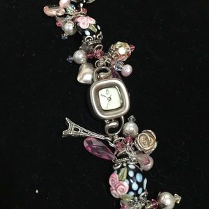 Jewelry - Designer pink black Paris charm bracelet watch