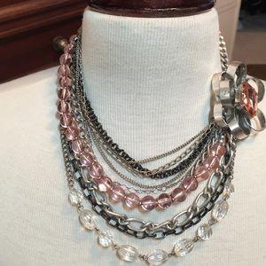 Silver multi media statement necklace SALE