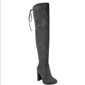 Shoes - Grey Faux Suede Thigh High Boots
