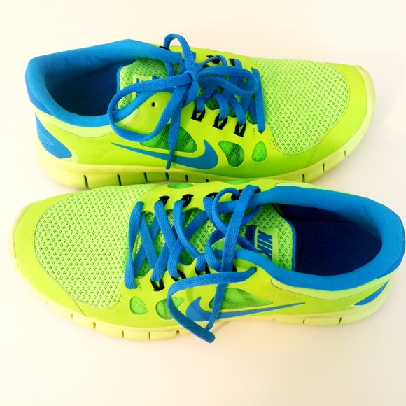 394b8dc734907 Nike Free 5.0 Neon Green   Blue - Youth Size 7. M 5668b1e3713fde647500355b