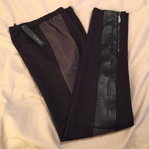 Black/Gray Skinny Pant Leather Panels