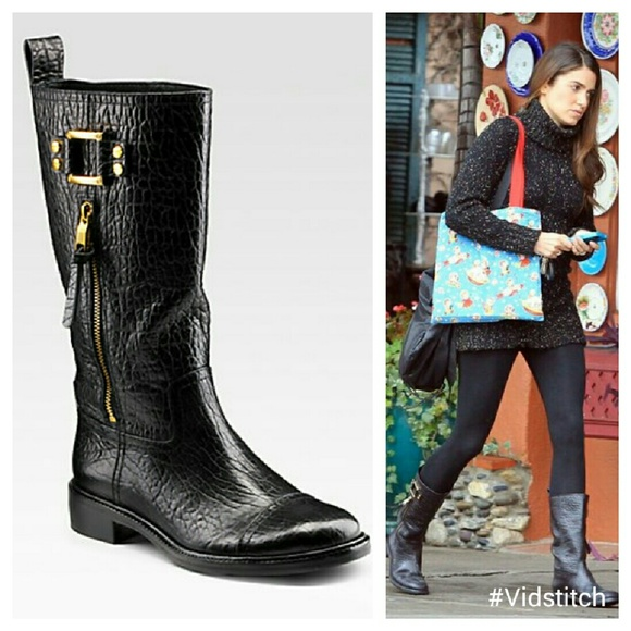 46d63253469 Tory Burch black leather stowe moto boots. M 5668af464e95a3d8b30034a8