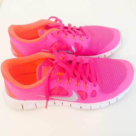 fa61f639455b Nike Free 5.0 Youth Size 7 Hot Pink   Hot Orange. M 5668b18e44adba84b502ea55