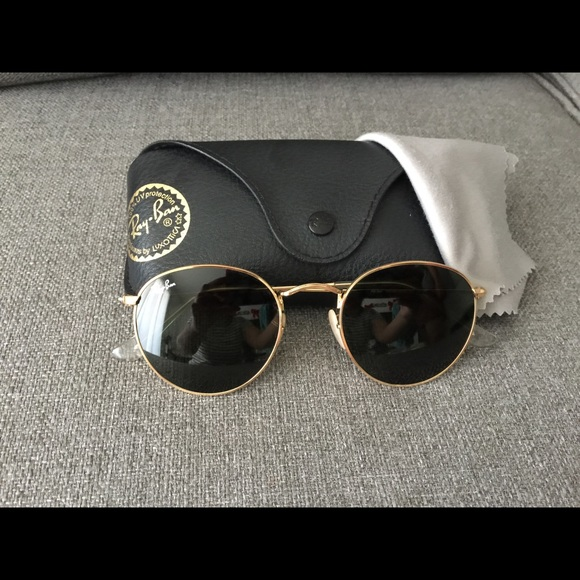 ray ban sunglasses black gold  ray ban round metal gold sunglasses