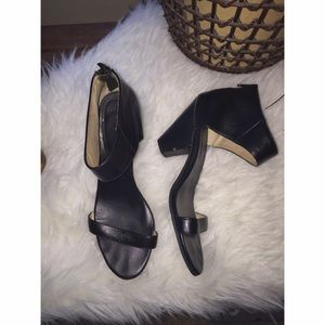 Jeffrey Campbell black leather one strap heel