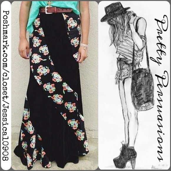 b79675a98 Free People Dresses & Skirts - Free People Twisted Velvet Black Floral Maxi  Skirt