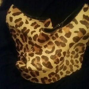 Calf hair leopard print wedges