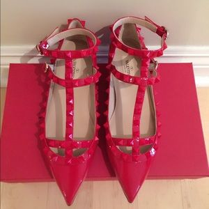 Valentino Shoes - Valentino Rockstud Punkouture Patent Cage Flats