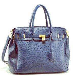 hermes taschen - 38% off Handbags - Faux ostrich handbag tote with gold accents ...