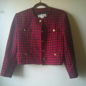 Jones New York Jackets & Blazers - Chic Red & Navy Blue Houndstooth Wool Coat Blazer