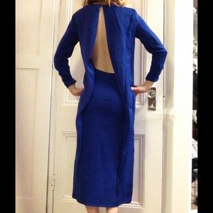 Cobalt blue midi open back long sleeve dress