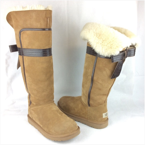UGG Genevieve Bow Tall Chestnut Boots SZ: 9