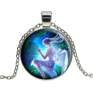 Angel Glass Cabochon Necklace