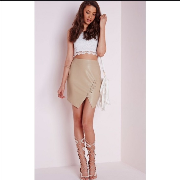 Missguided - High waist Lace up faux leather mini skirt tan from ...