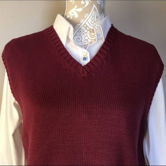 89% off Lands' End Sweaters - 🐾 SALE! 🐾 Burgundy Sweater Vest ...