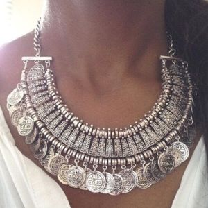 Boho Silver Coin Necklace!
